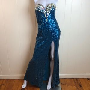 La Femme Beaded Floor Length Prom Formal Gown